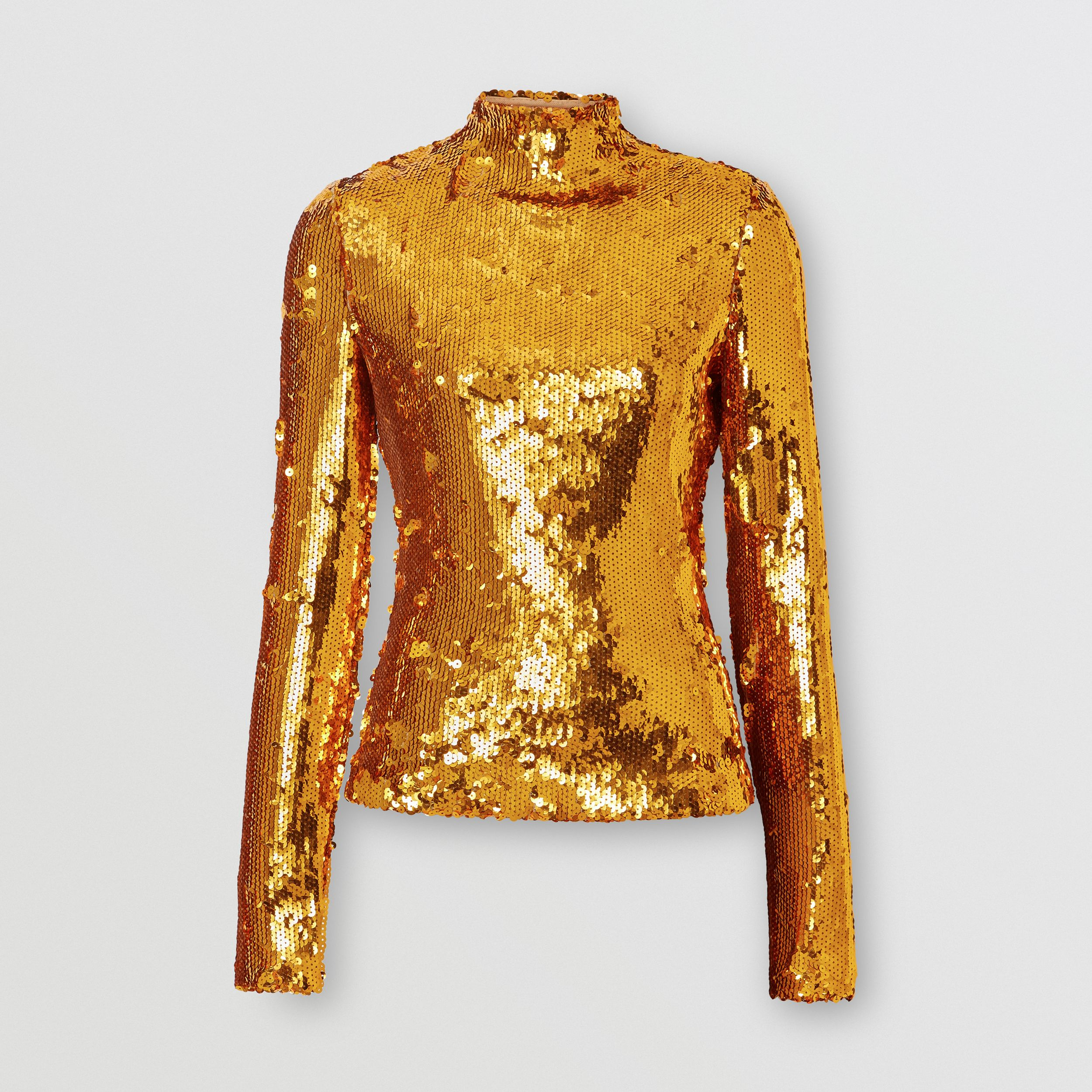 Sequinned Turtleneck Top in Gold - Women | Burberry - 4