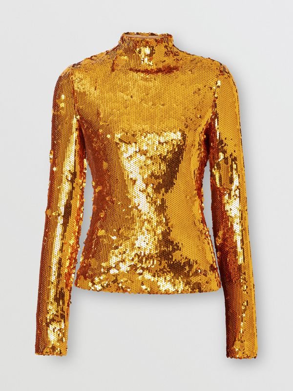 Sequinned Turtleneck Top in Gold - Women | Burberry - cell image 3