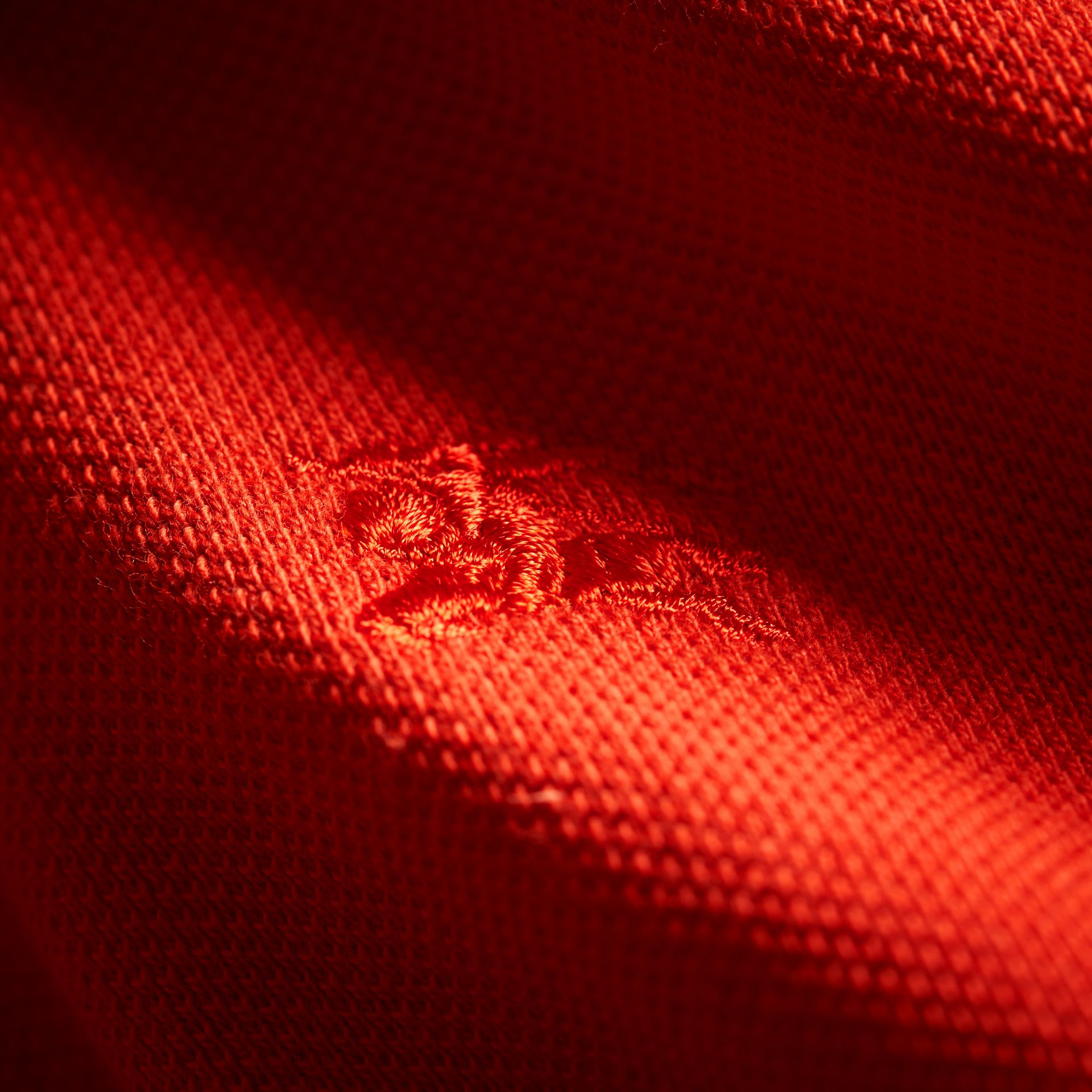 Check Placket Polo Shirt in Orange Red - gallery image 2