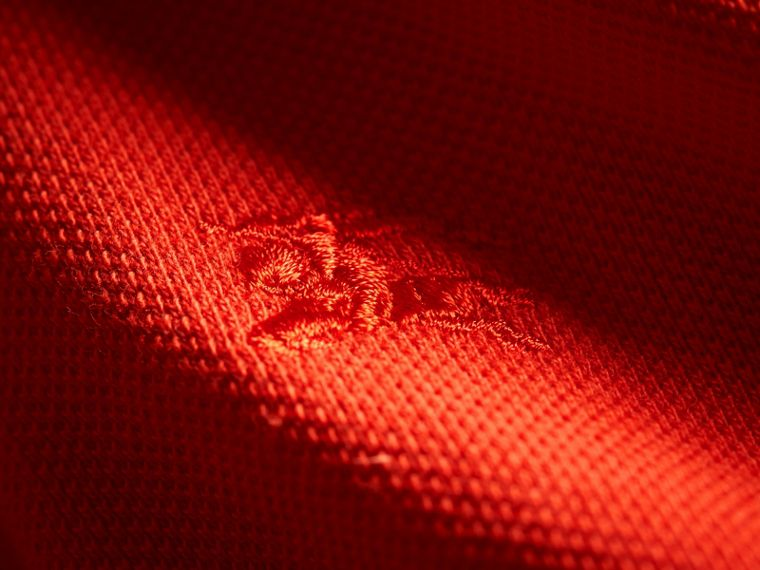 Check Placket Polo Shirt in Orange Red - cell image 1