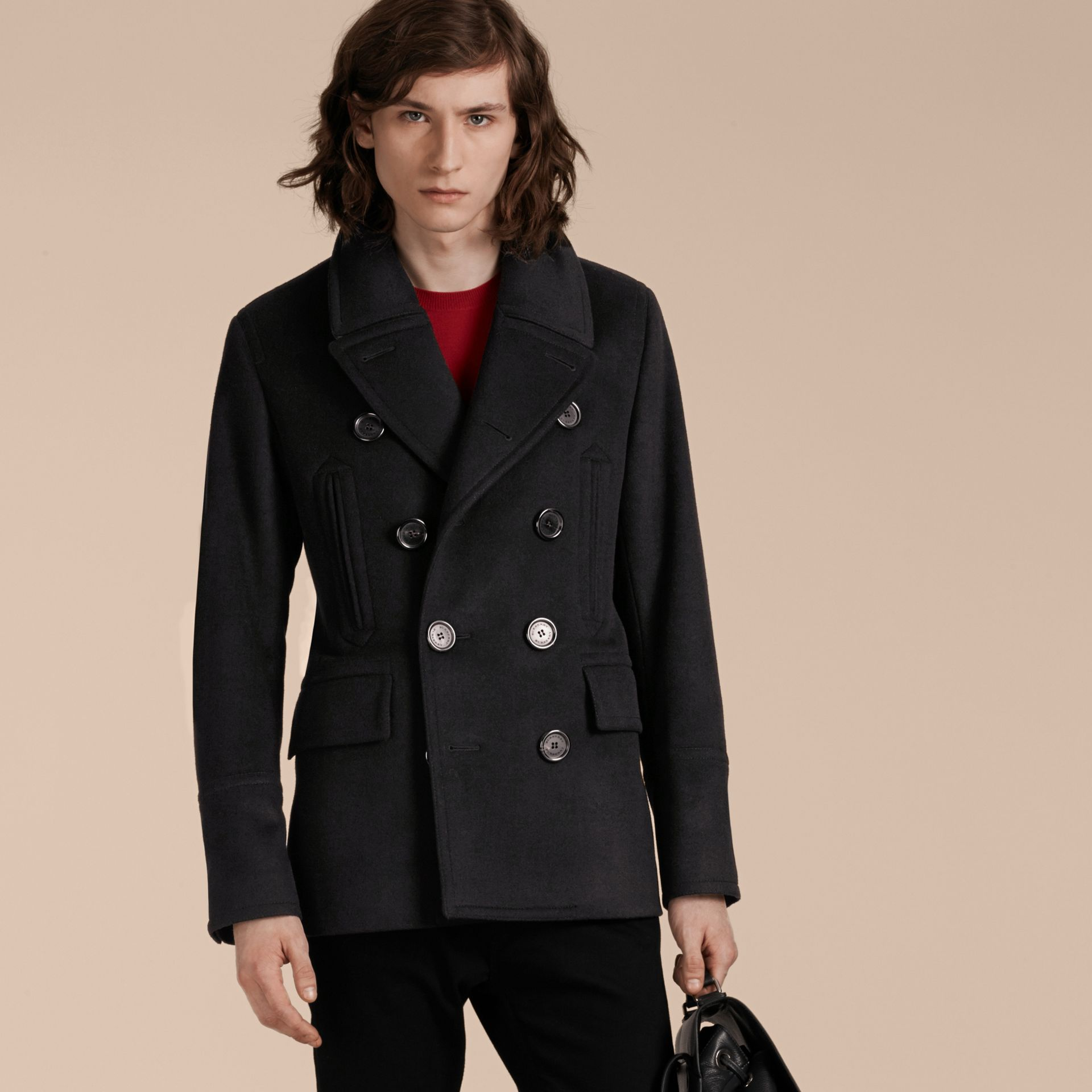 Black Wool Cashmere Pea Coat - gallery image 7