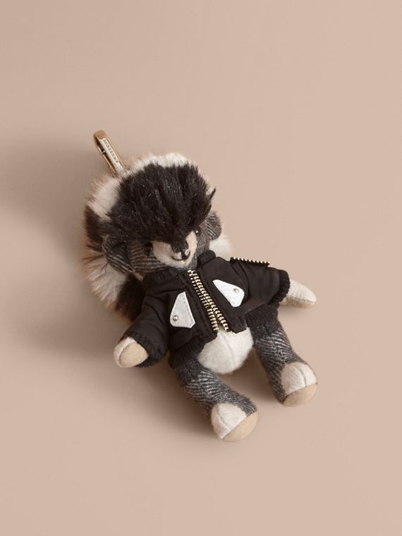 Thomas Bear Charm with Shearling and Pallas Heads Appliqué Bomber
