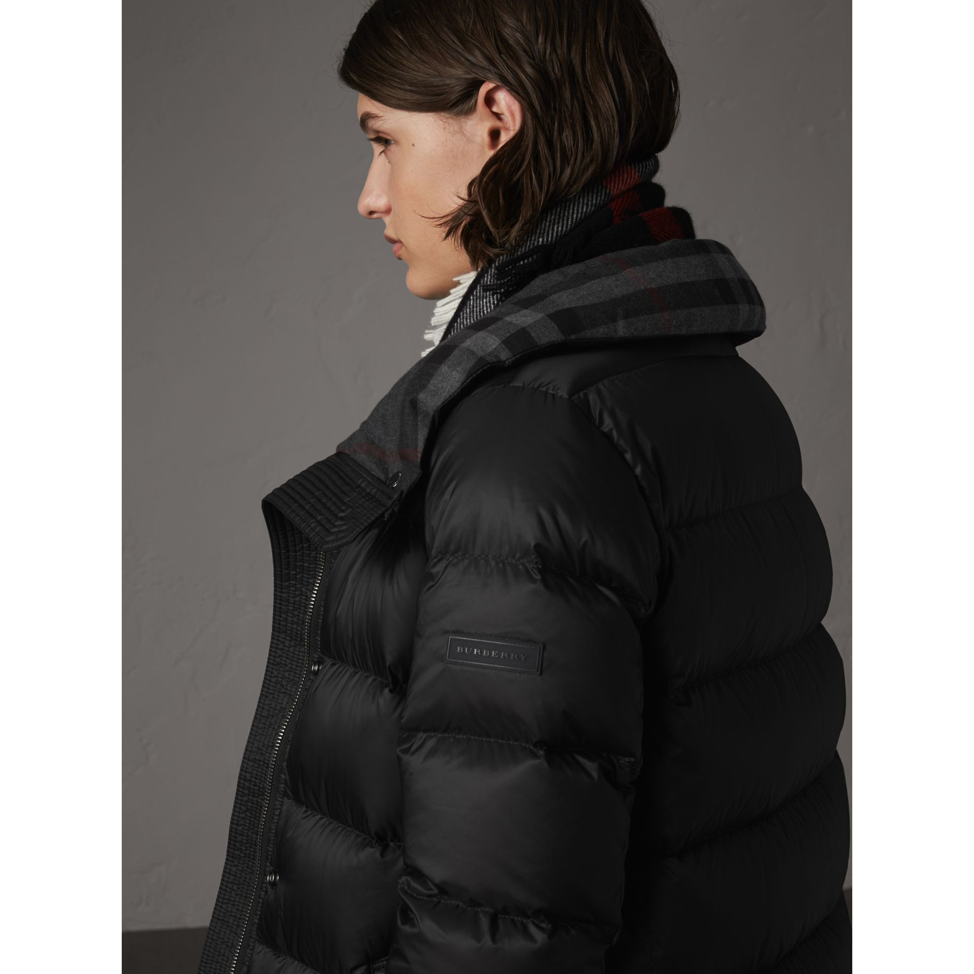 Detachable Hooded Down-filled Puffer Coat in Black - Women | Burberry - gallery image 4