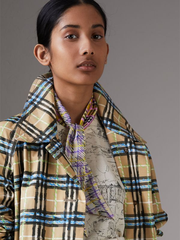 Scribble Check Silk Slim Scarf in Bright Yellow - Women | Burberry - cell image 3