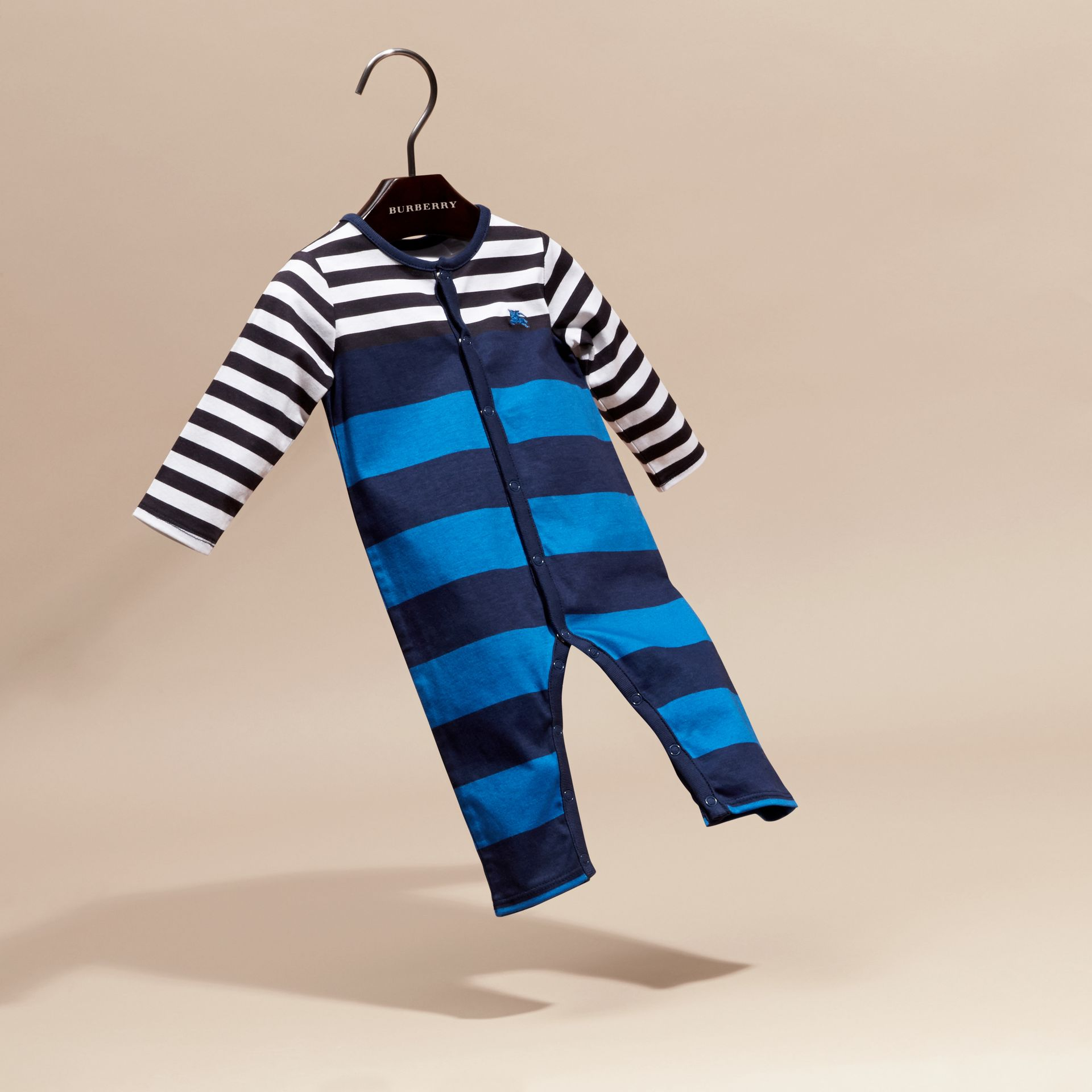 Ink blue Striped Cotton All-in-one - gallery image 3