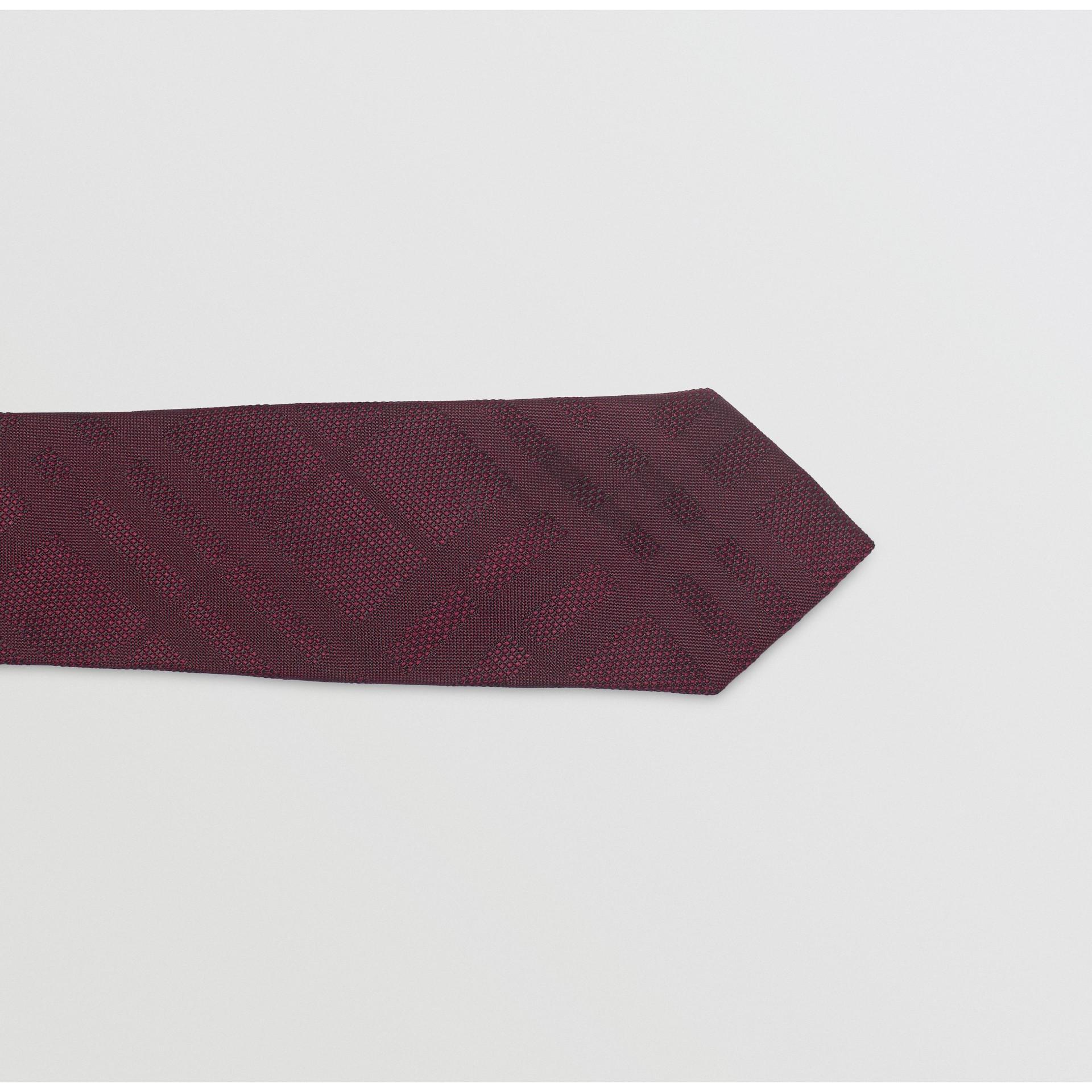 Modern Cut Check Silk Tie in Deep Claret - Men | Burberry - gallery image 1