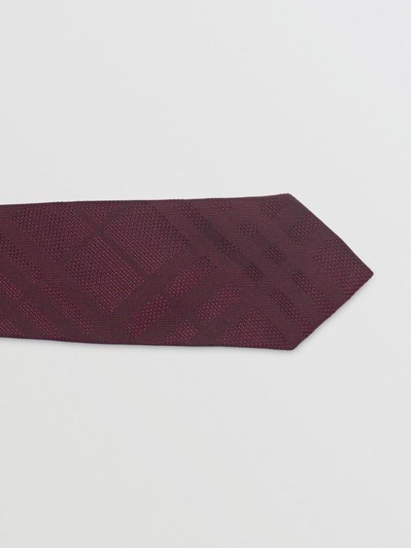 Modern Cut Check Silk Tie in Deep Claret - Men | Burberry - cell image 1