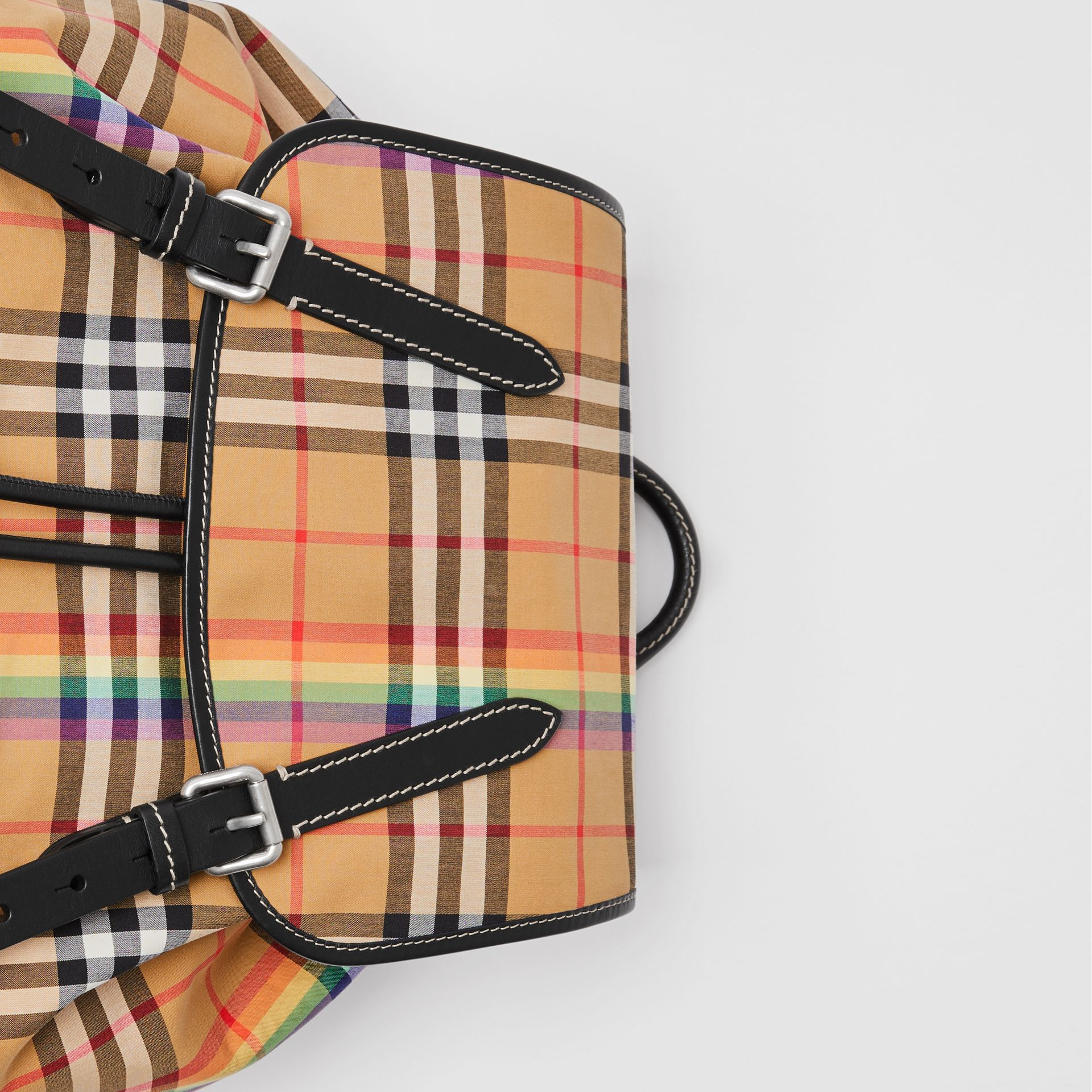 The Large Rucksack in Rainbow Vintage Check in Antique Yellow | Burberry - gallery image 1