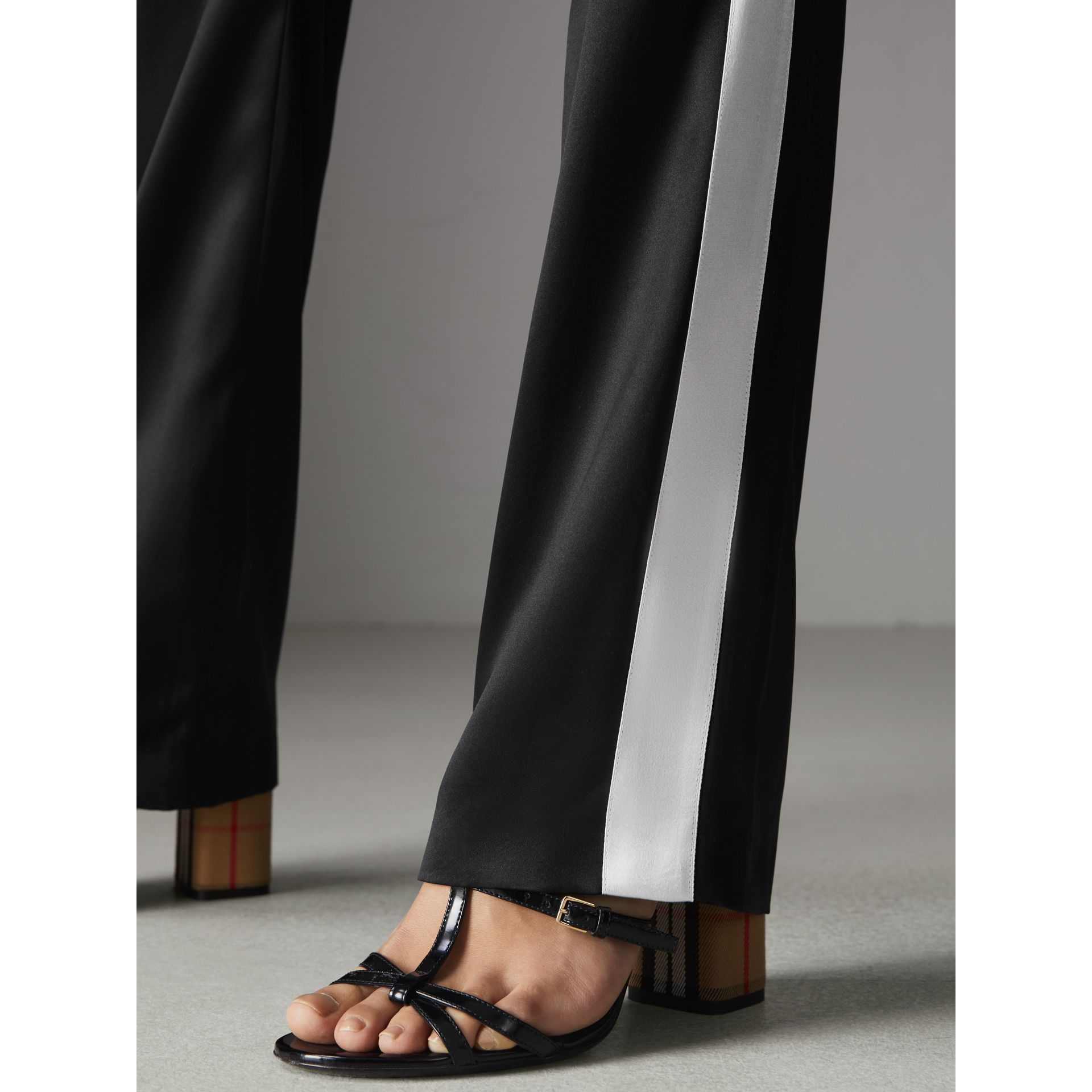 Stripe Detail Silk Satin Tailored Trackpants in Black - Women | Burberry - gallery image 1