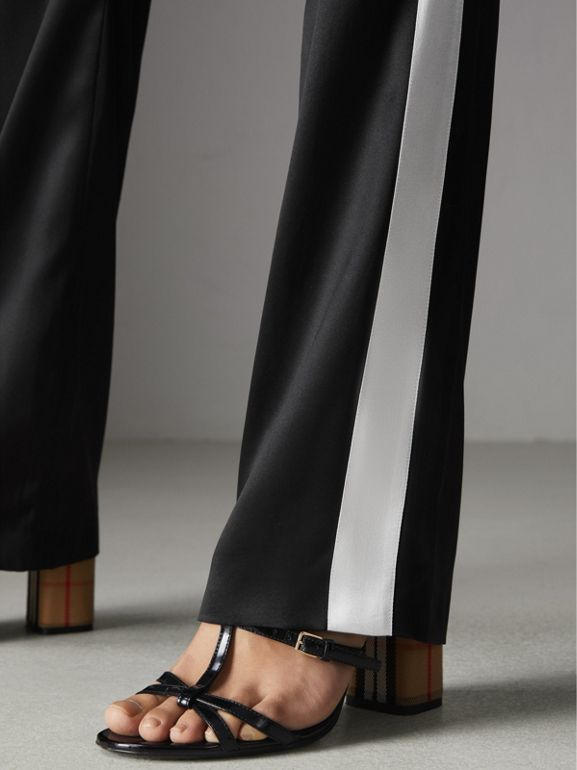 Stripe Detail Silk Satin Tailored Track Pants in Black - Women | Burberry - cell image 1