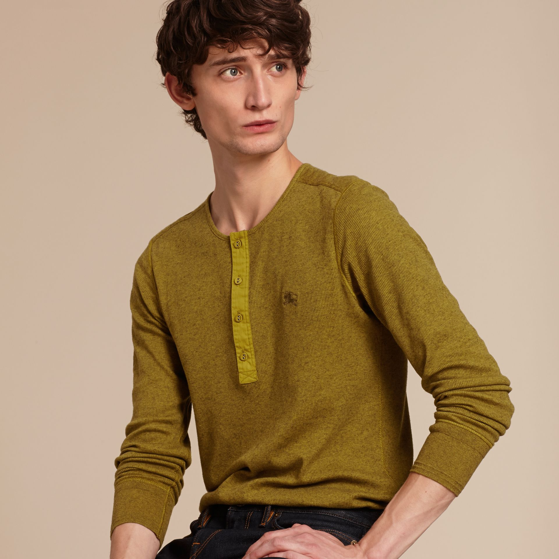 Olive green Ribbed Cotton Wool Henley Top Olive Green - gallery image 6