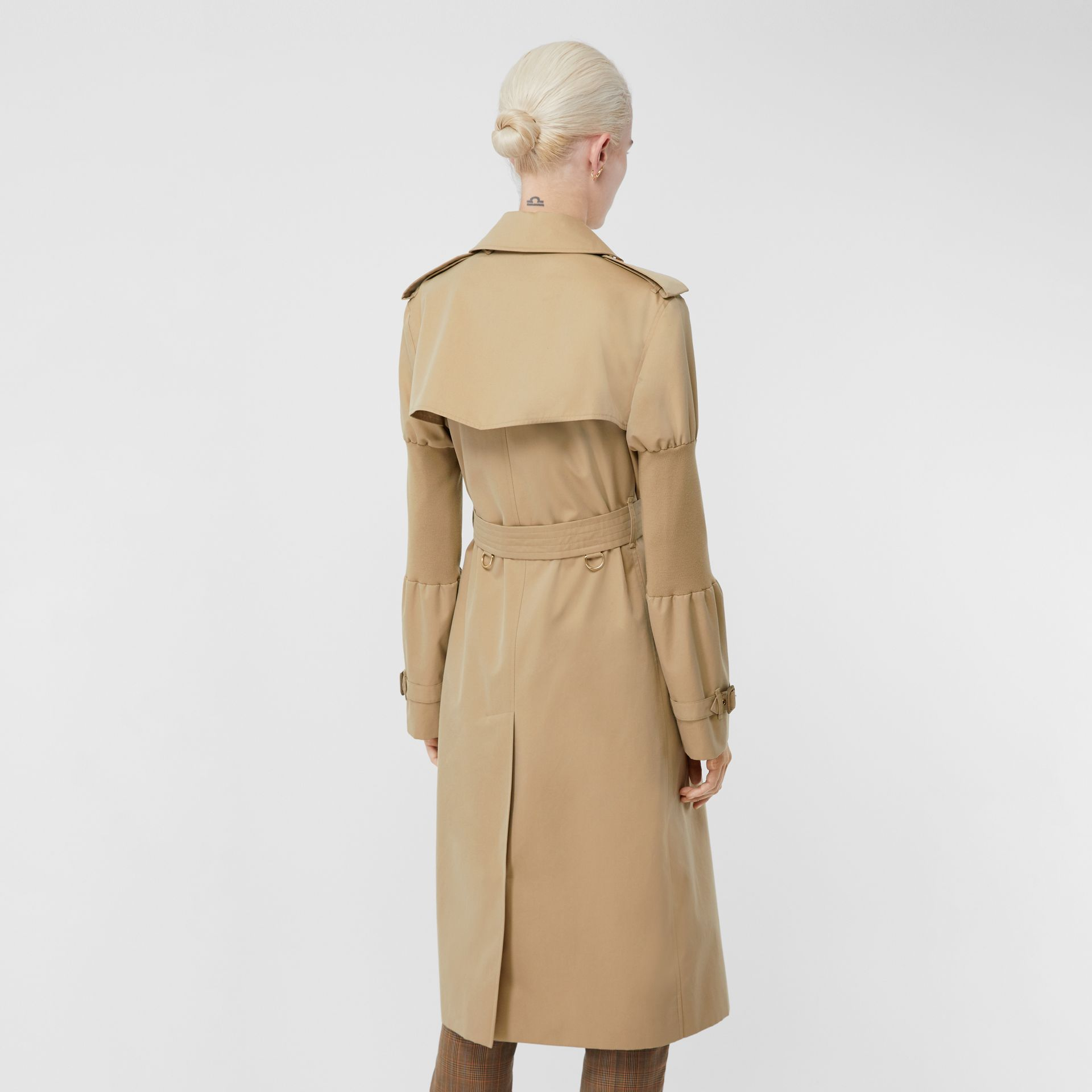 Panelled-sleeve Cotton Gabardine Oversized Trench Coat in Honey - Women | Burberry United Kingdom - gallery image 2