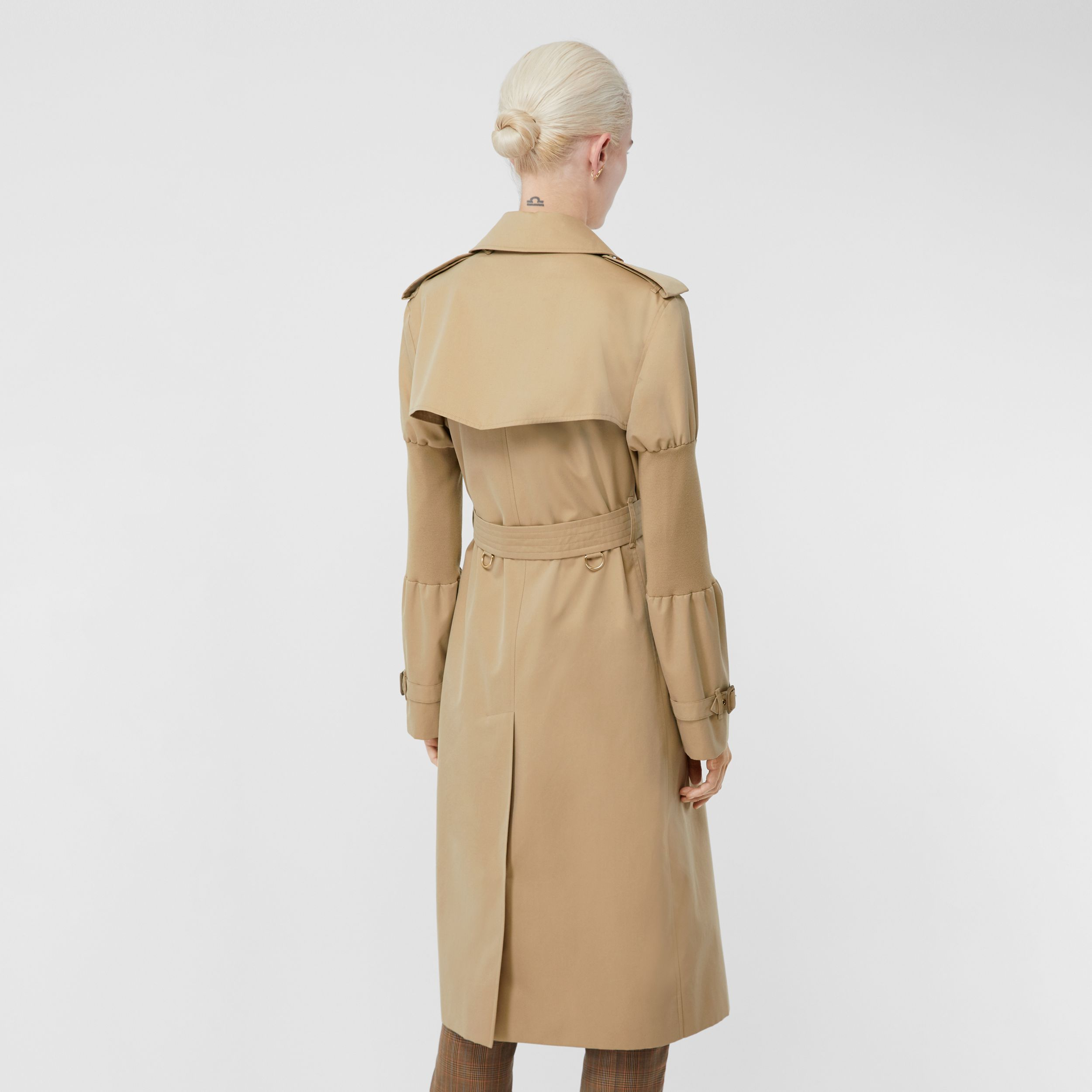 Panelled-sleeve Cotton Gabardine Oversized Trench Coat in Honey - Women | Burberry - 3