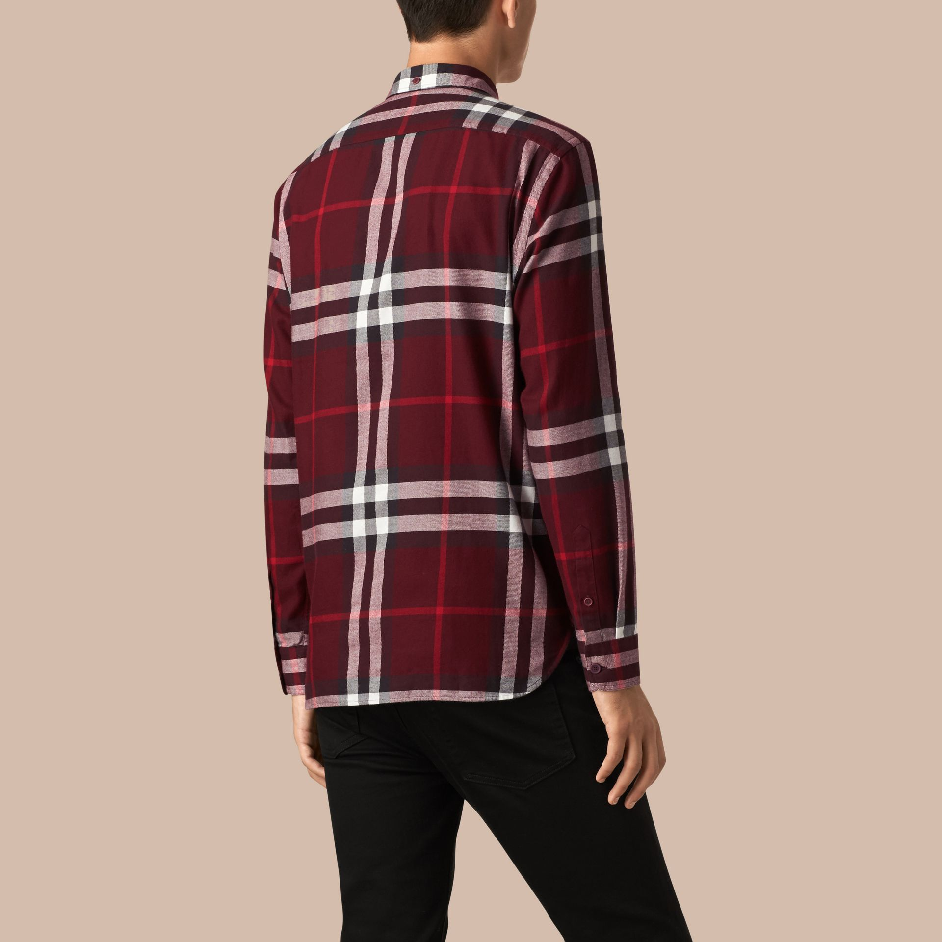 Claret Check Cotton Flannel Shirt Claret - gallery image 3