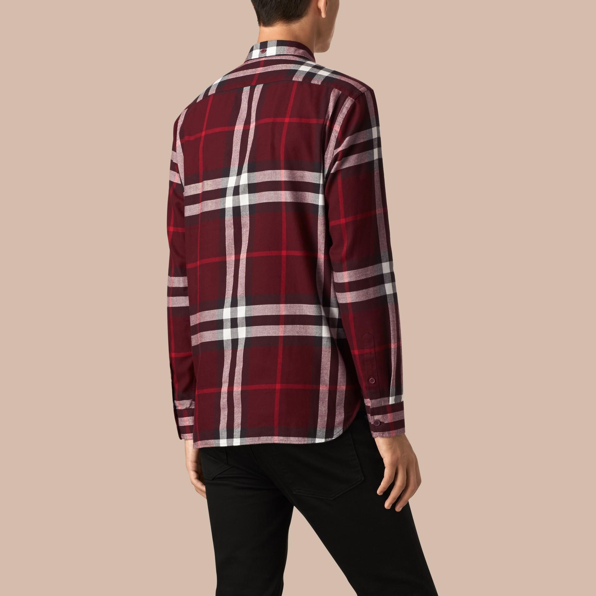 Weinrot Hemd aus Baumwollflanell mit Check-Muster Weinrot - Galerie-Bild 3