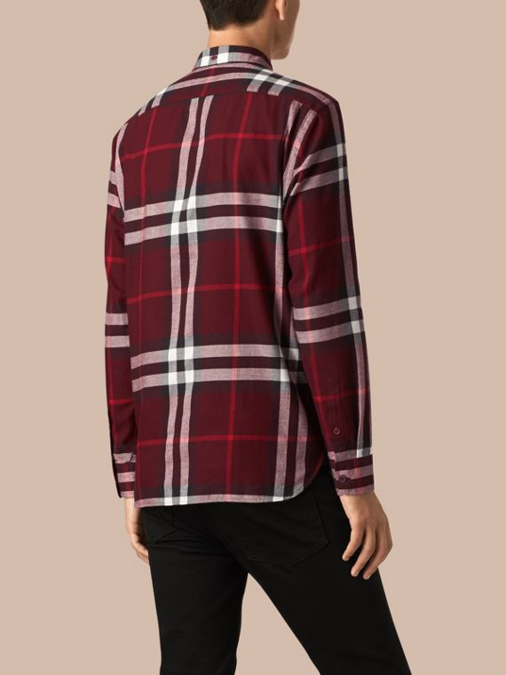 Claret Check Cotton Flannel Shirt Claret - cell image 2