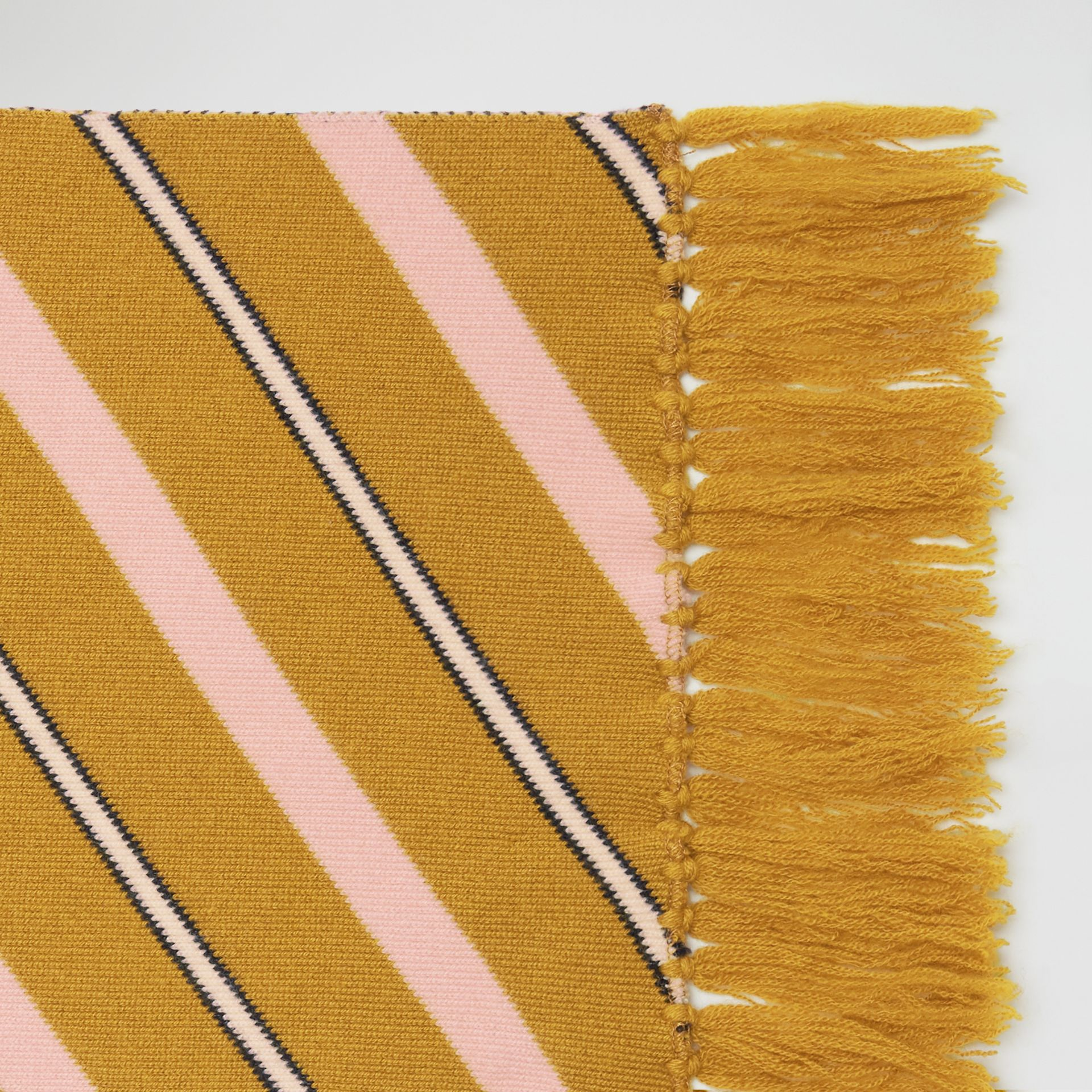 Tri-tone Striped Wool Cashmere Scarf in Dusty Yellow | Burberry - gallery image 1