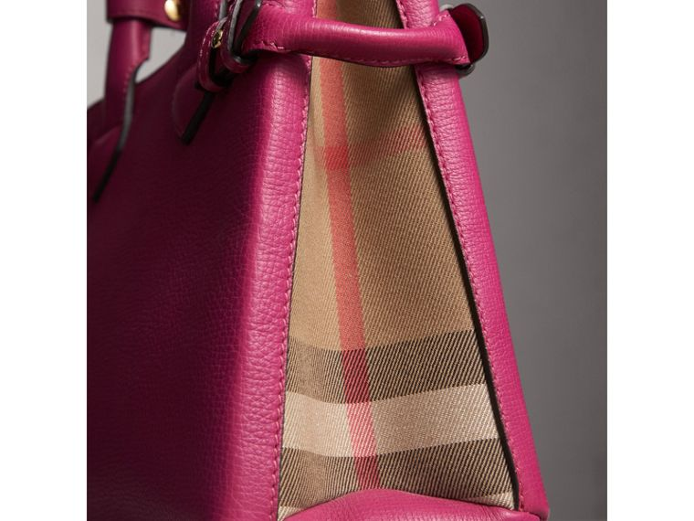 The Small Banner in Leather and House Check in Brilliant Fuchsia - Women | Burberry - cell image 1