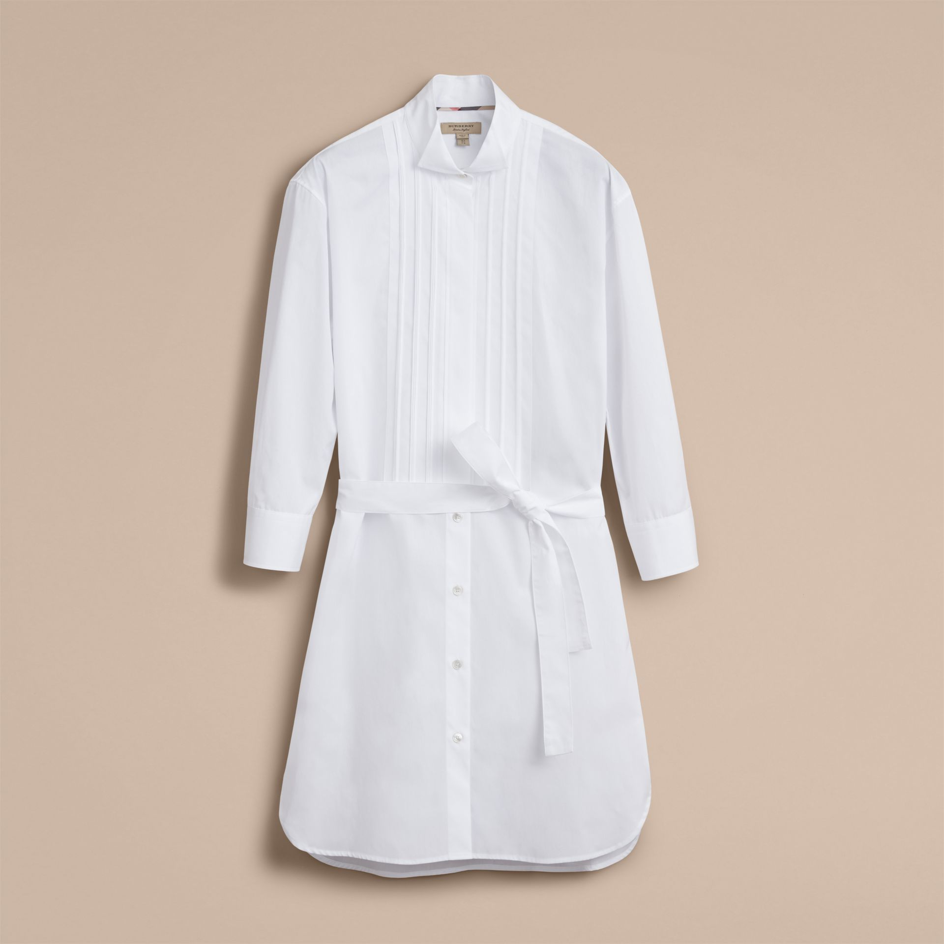 Tie-waist Wing Collar Cotton Poplin Shirt Dress in White - Women | Burberry - gallery image 3