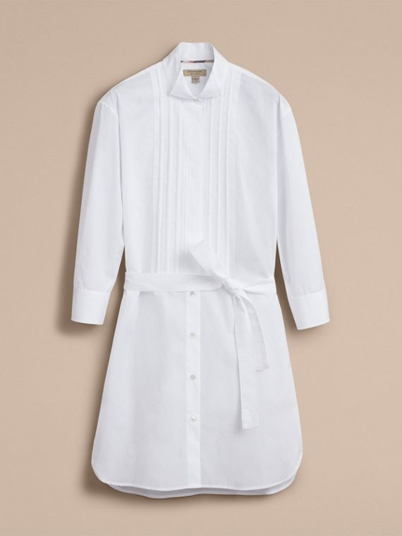Tie-waist Wing Collar Cotton Poplin Shirt Dress in White - Women | Burberry - cell image 3