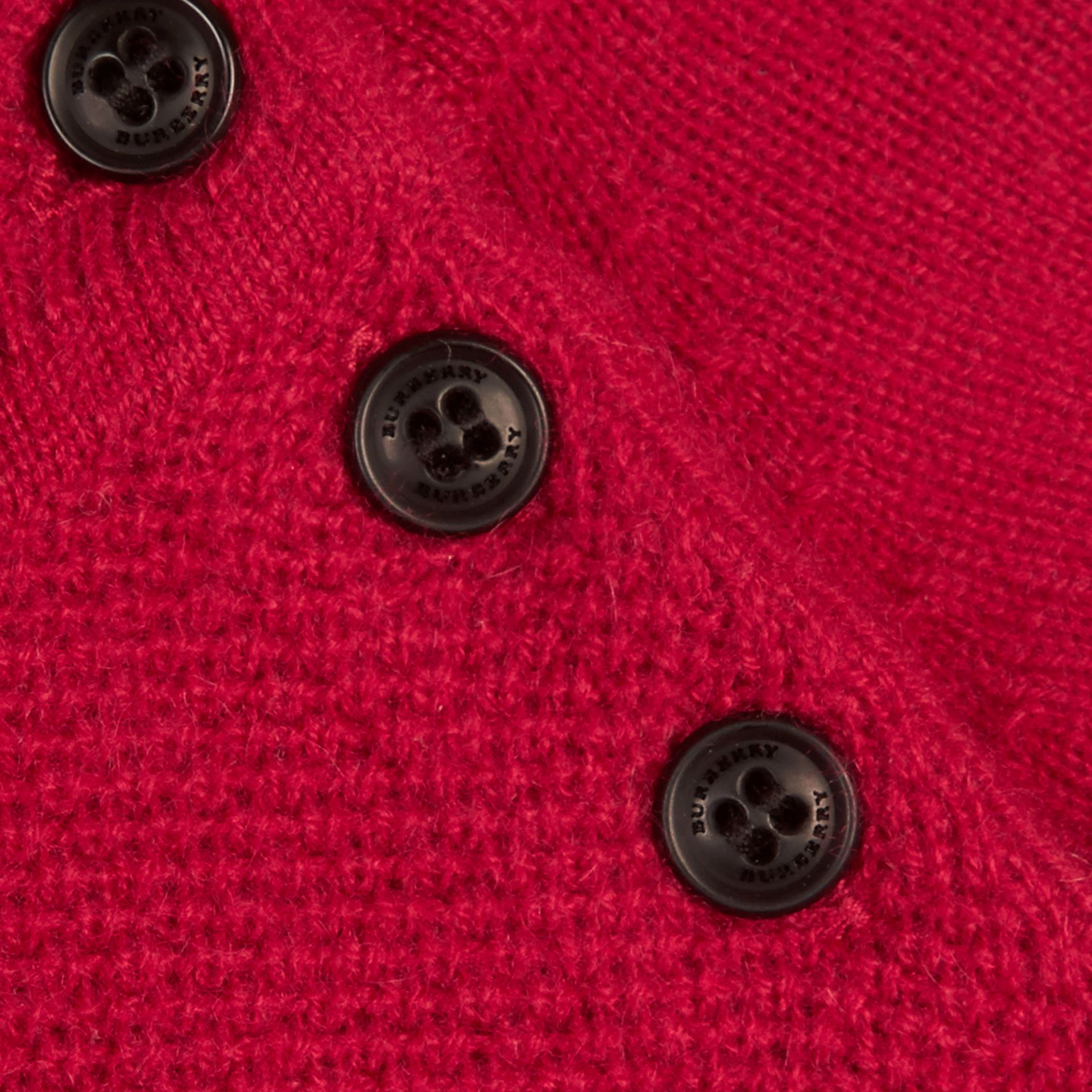 Check Detail Cashmere Dress in Parade Red - Girl | Burberry Australia - gallery image 3