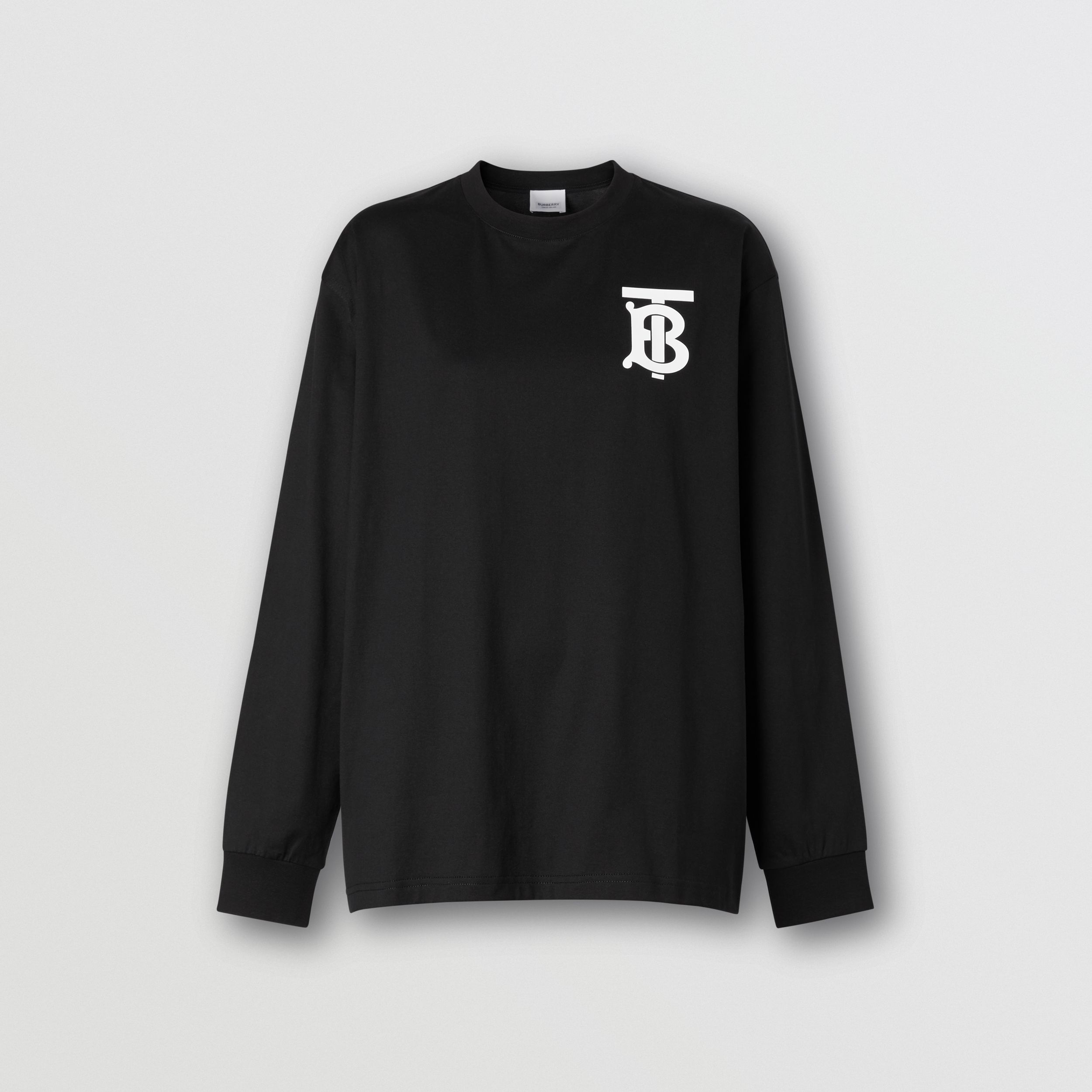 Long-sleeve Monogram Motif Cotton Top in Black - Women | Burberry Australia - 4
