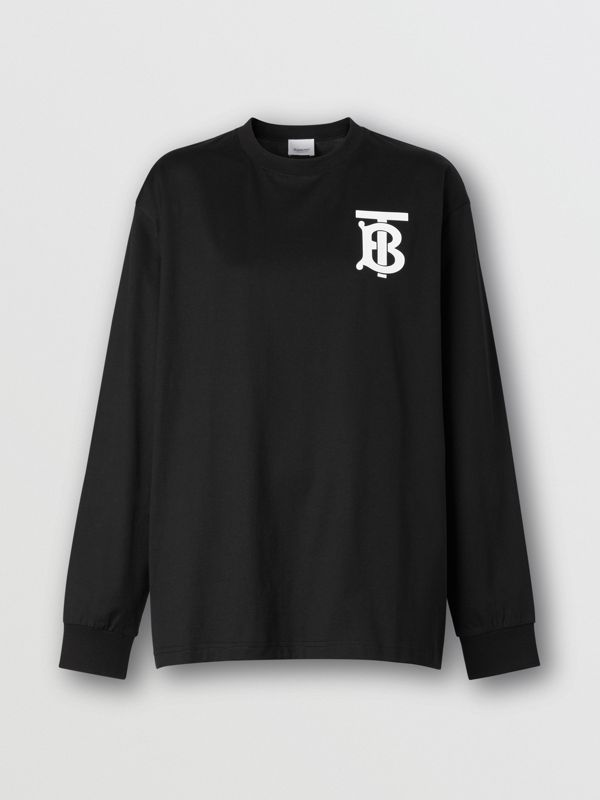 Long-sleeve Monogram Motif Cotton Top in Black - Women | Burberry - cell image 3