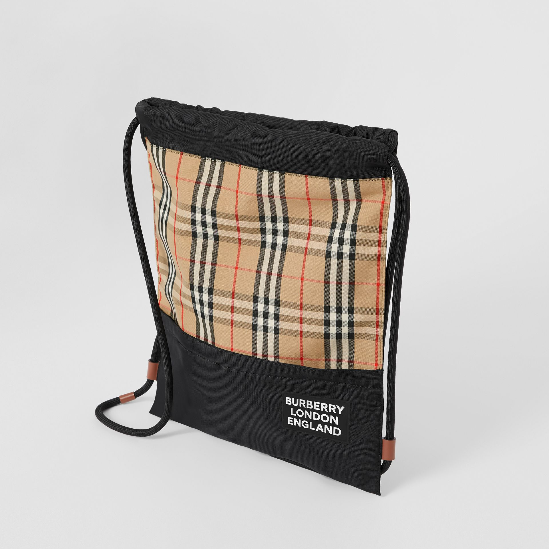 Vintage Check Panel Drawcord Backpack in Archive Beige | Burberry Canada - gallery image 4