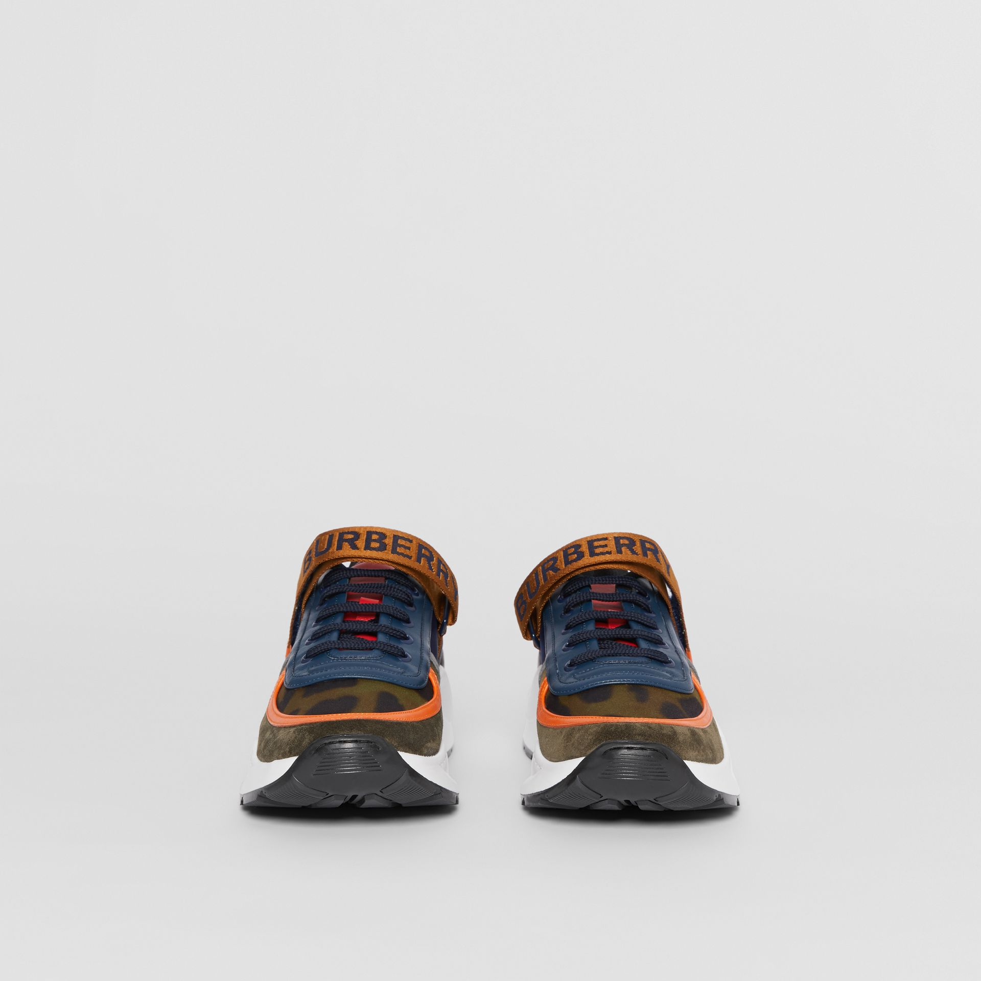 Logo Detail Leopard Print and Leather Sneakers in Blue/khaki - Men | Burberry United States - gallery image 3