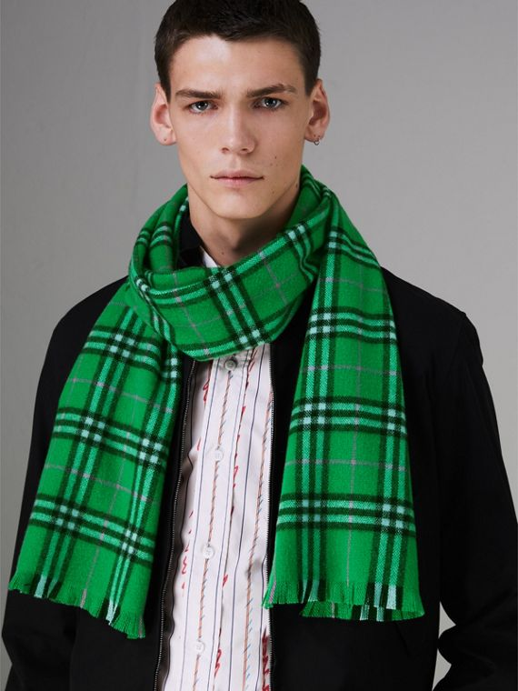 Check Cashmere Scarf in Bright Grass Green | Burberry Singapore - cell image 3