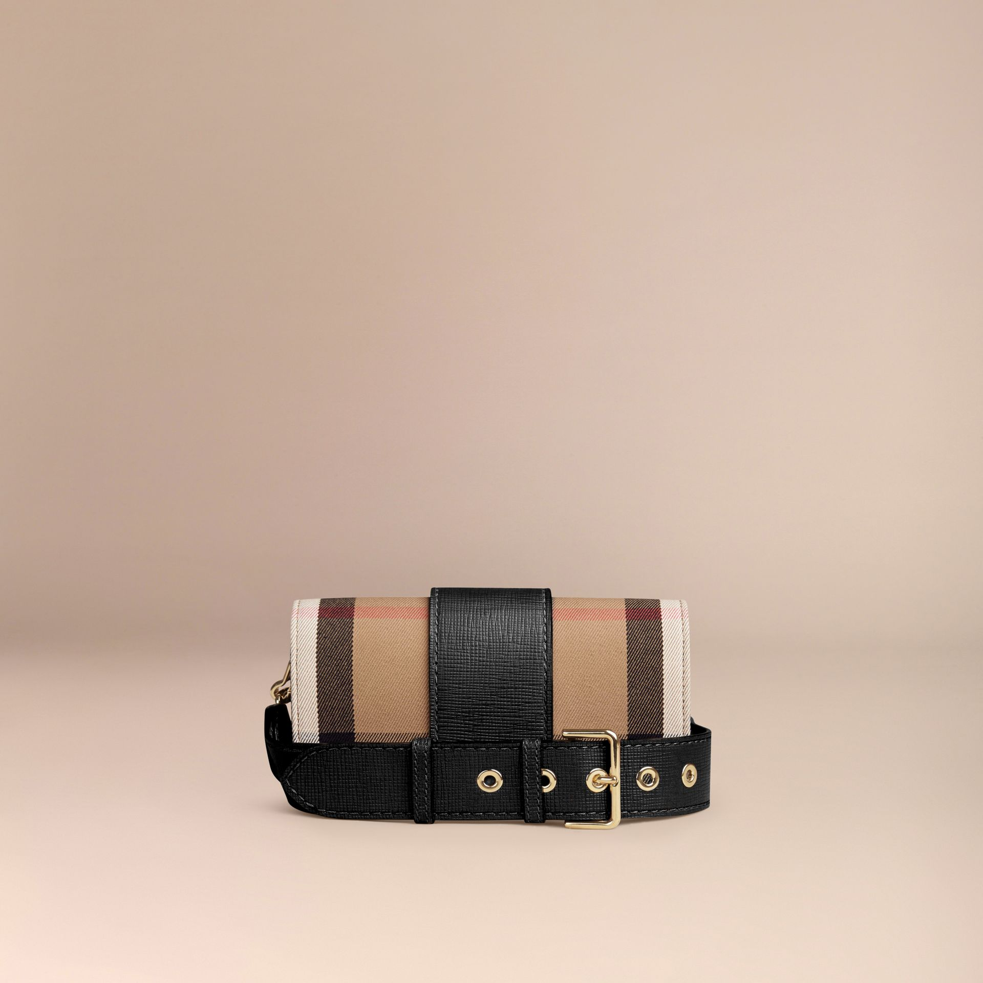 Black The Small Buckle Bag in House Check and Leather Black - gallery image 6