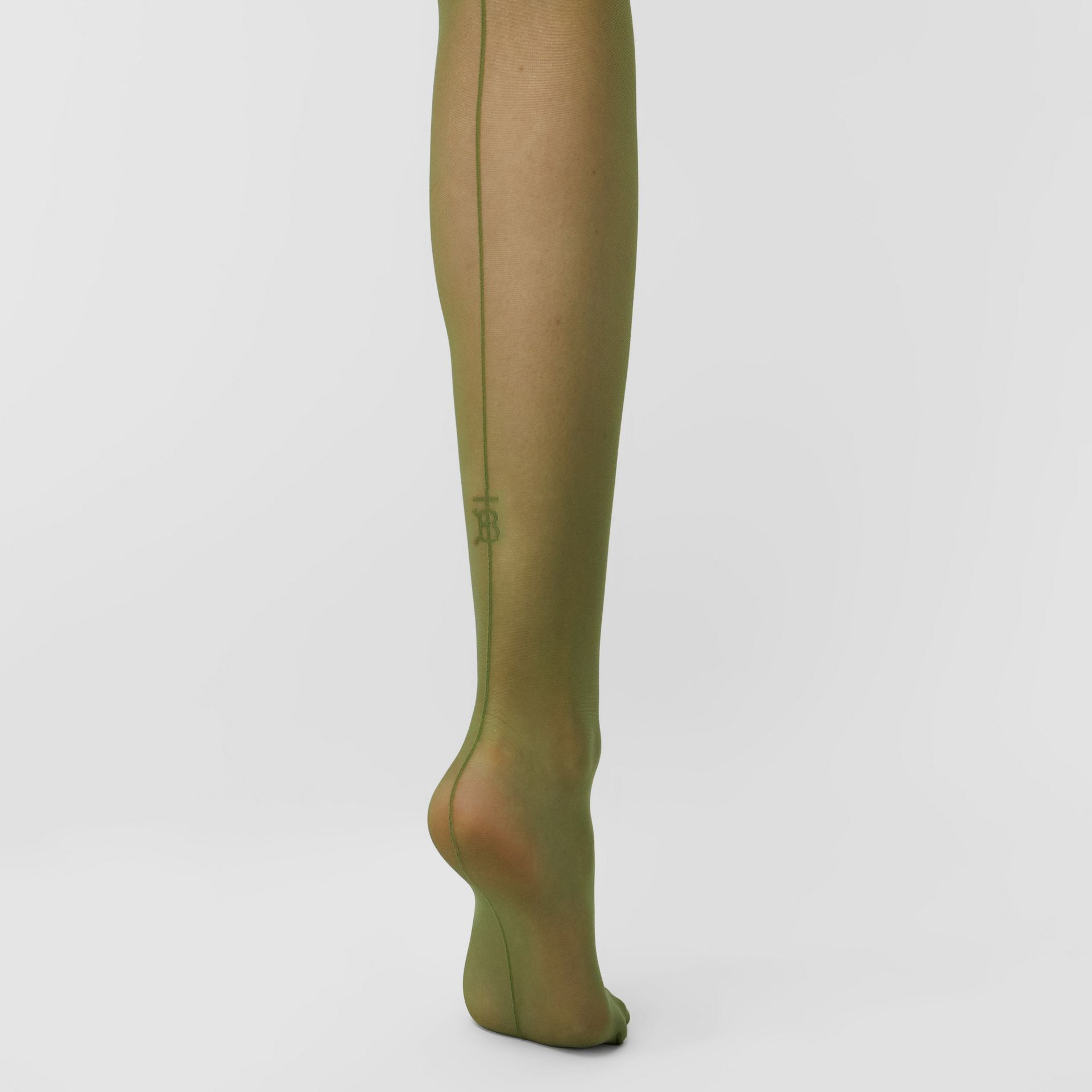 Monogram Motif Seamed Tights in Cedar Green - Women | Burberry - gallery image 0