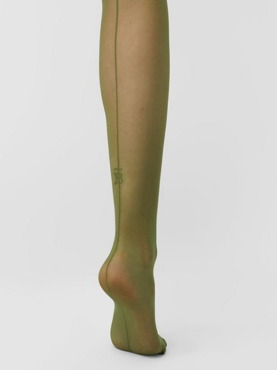 Monogram Motif Seamed Tights in Cedar Green