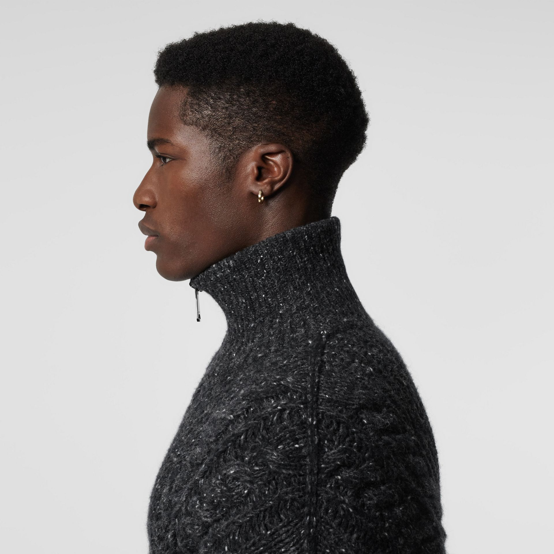 Cable Knit Cashmere Wool Mohair Zip-front Sweater in Black - Men | Burberry - gallery image 1