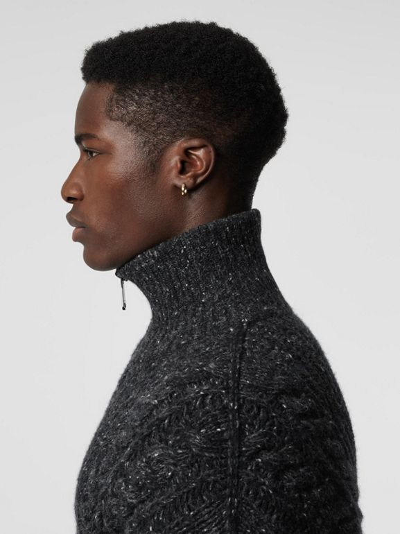 Cable Knit Cashmere Wool Mohair Zip-front Sweater in Black - Men | Burberry Canada - cell image 1
