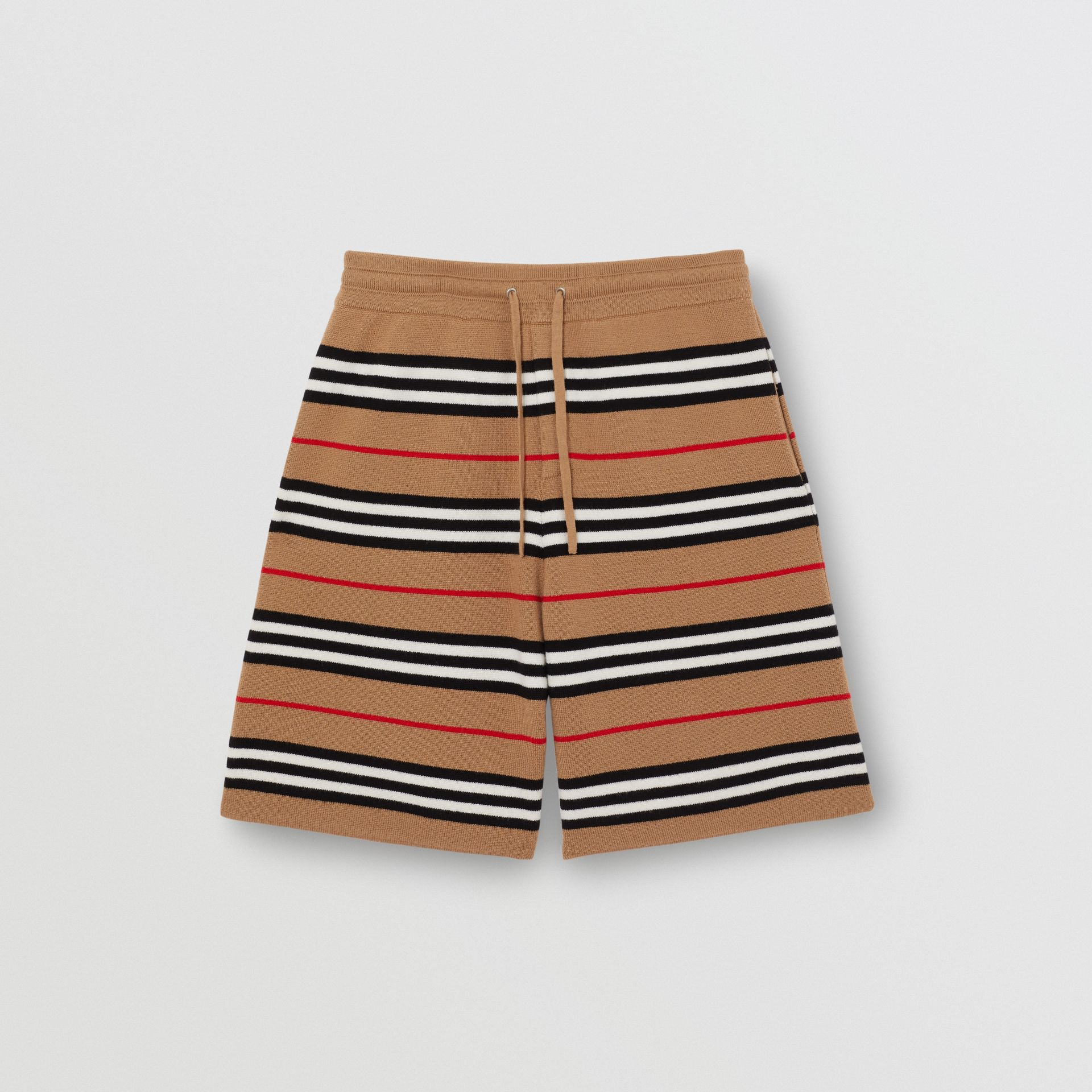 Icon Stripe Merino Wool Drawcord Shorts in Archive Beige | Burberry Singapore - gallery image 3