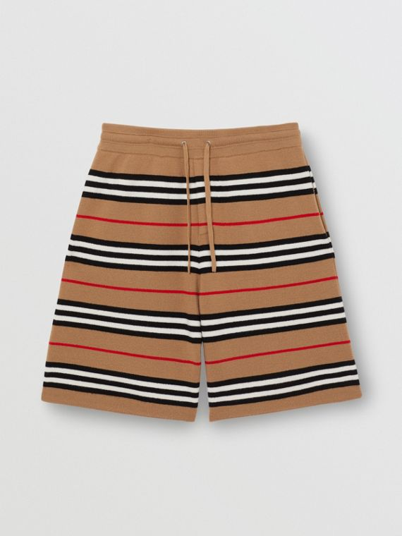 Icon Stripe Merino Wool Drawcord Shorts in Archive Beige