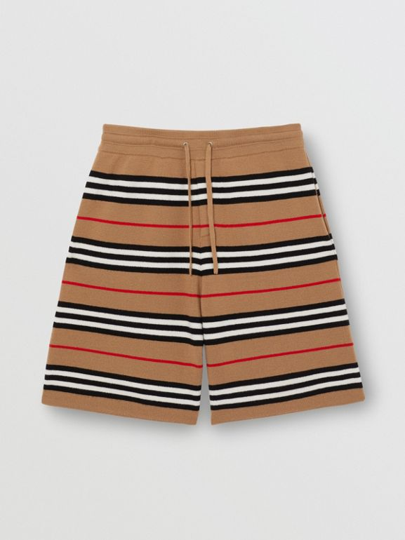 Monogram Motif Merino Wool Drawcord Shorts in Archive Beige - Men | Burberry Hong Kong - cell image 1