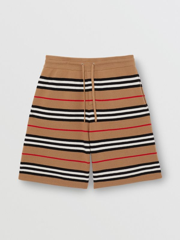 Icon Stripe Merino Wool Drawcord Shorts in Archive Beige - Men | Burberry - cell image 3