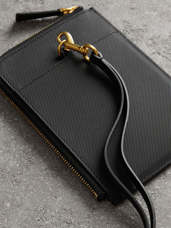 Trench Leather Ziparound Passport Holder in Black | Burberry - cell image 3