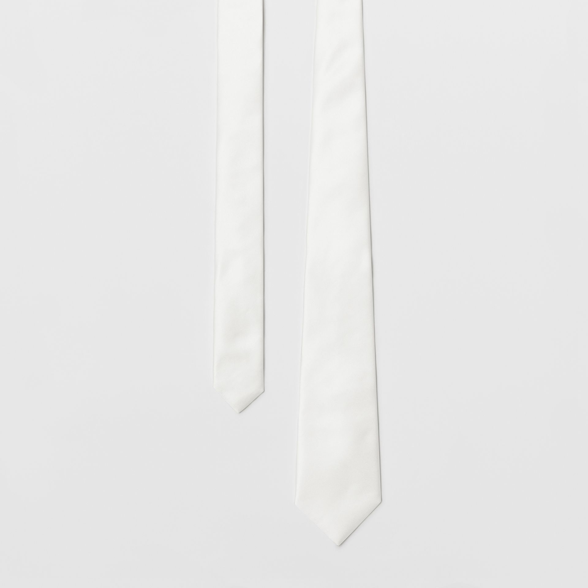 Modern Cut Silk Satin Tie in White - Men | Burberry - gallery image 0