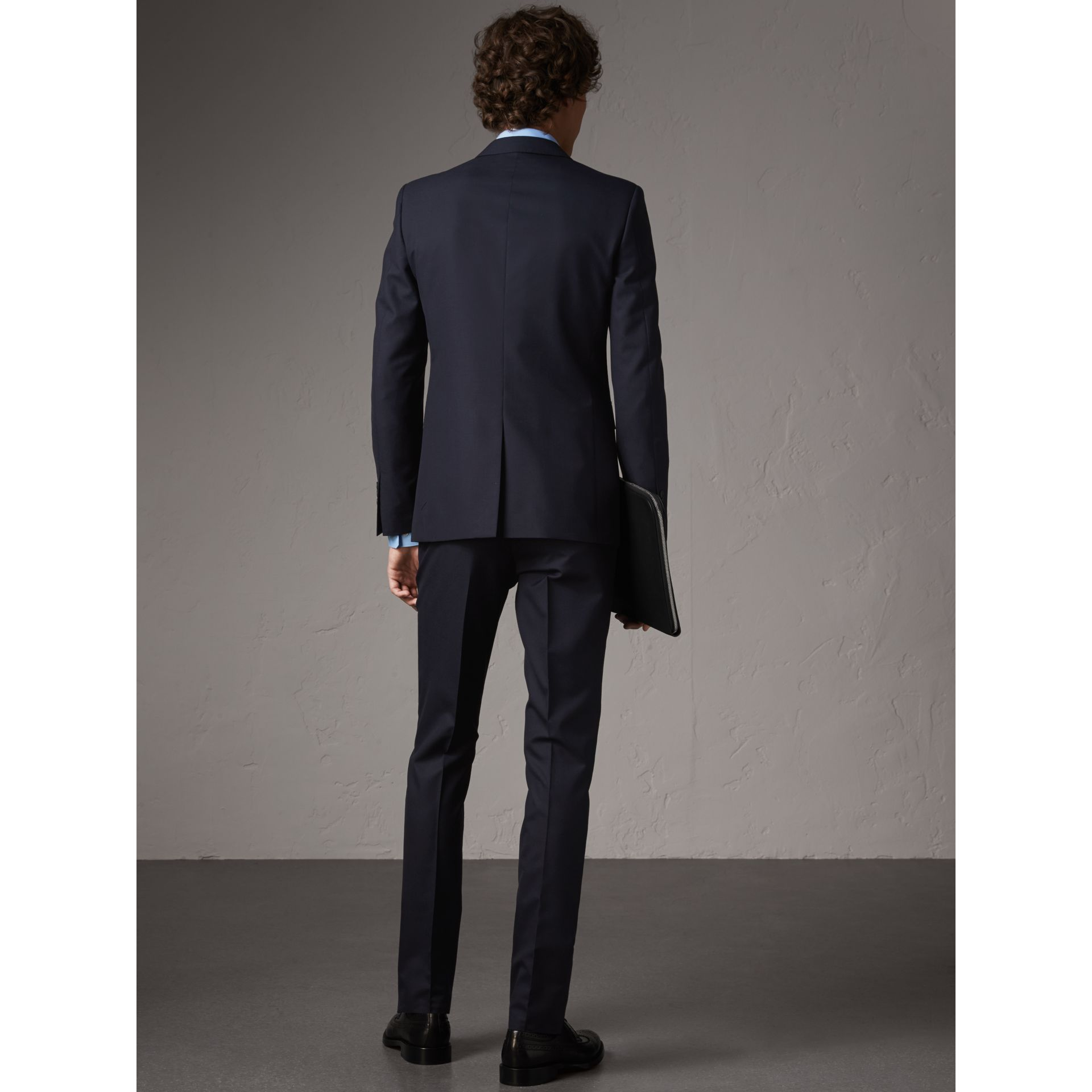 Slim Fit Wool Part-canvas Suit in Navy - Men | Burberry - gallery image 3