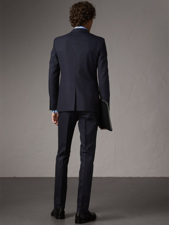 Slim Fit Wool Part-canvas Suit in Navy - Men | Burberry United Kingdom - cell image 2