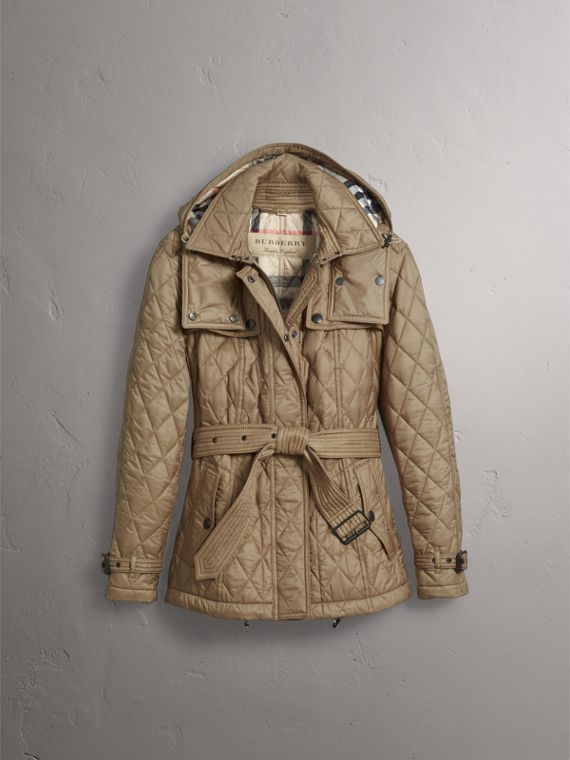 Quilted Trench Jacket with Detachable Hood in Pale Fawn - Women | Burberry Australia - cell image 3