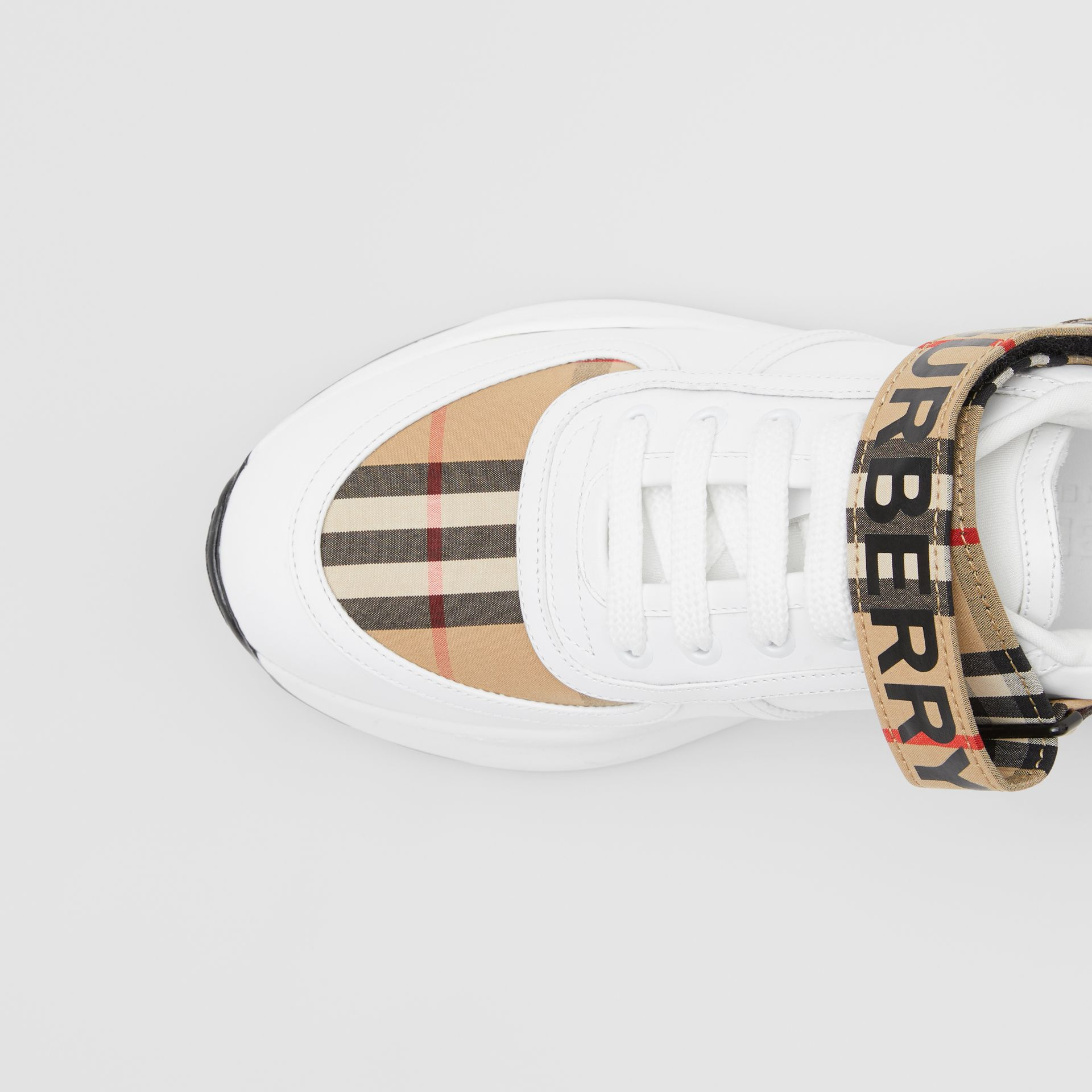 Logo Print Vintage Check and Leather Sneakers in Archive Beige - Women | Burberry - gallery image 1