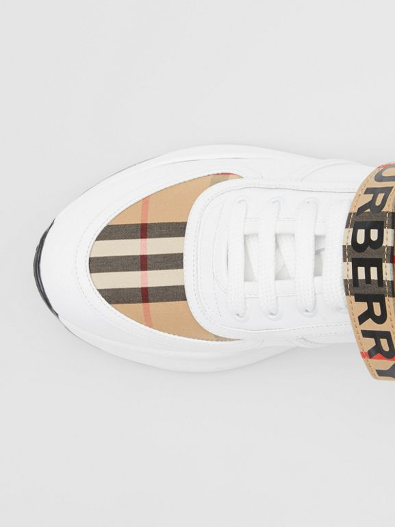 Logo Print Vintage Check and Leather Sneakers in Archive Beige - Women | Burberry - cell image 1