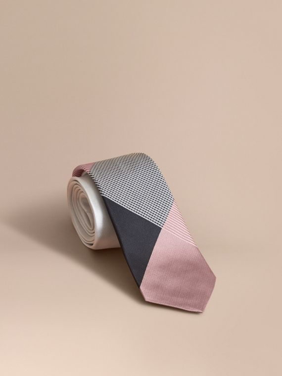 Modern Cut Gingham Check Silk Jacquard Tie Apricot Pink