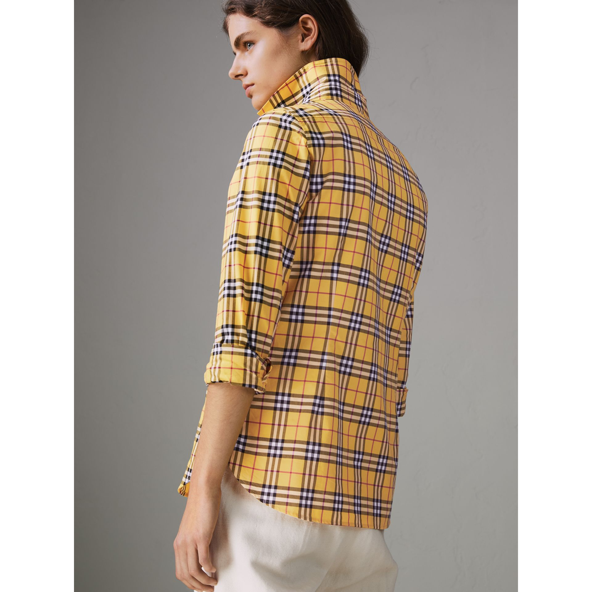Check Cotton Shirt in Bright Ochre Yellow - Women | Burberry - gallery image 2