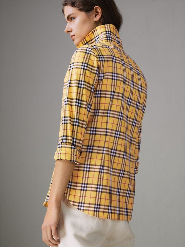Check Cotton Shirt in Bright Ochre Yellow - Women | Burberry - cell image 2