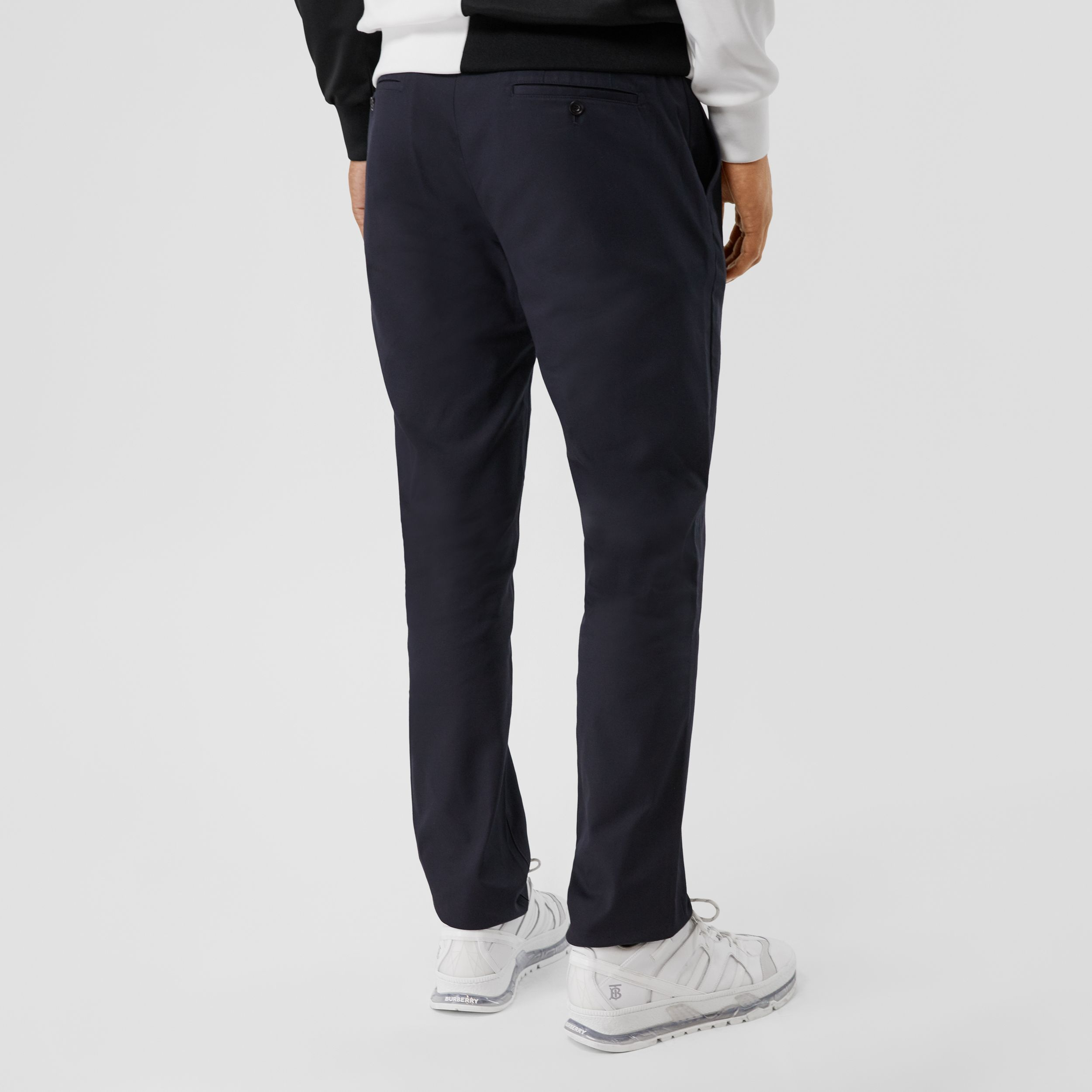 Slim Fit Cotton Chinos in Navy - Men | Burberry - 3